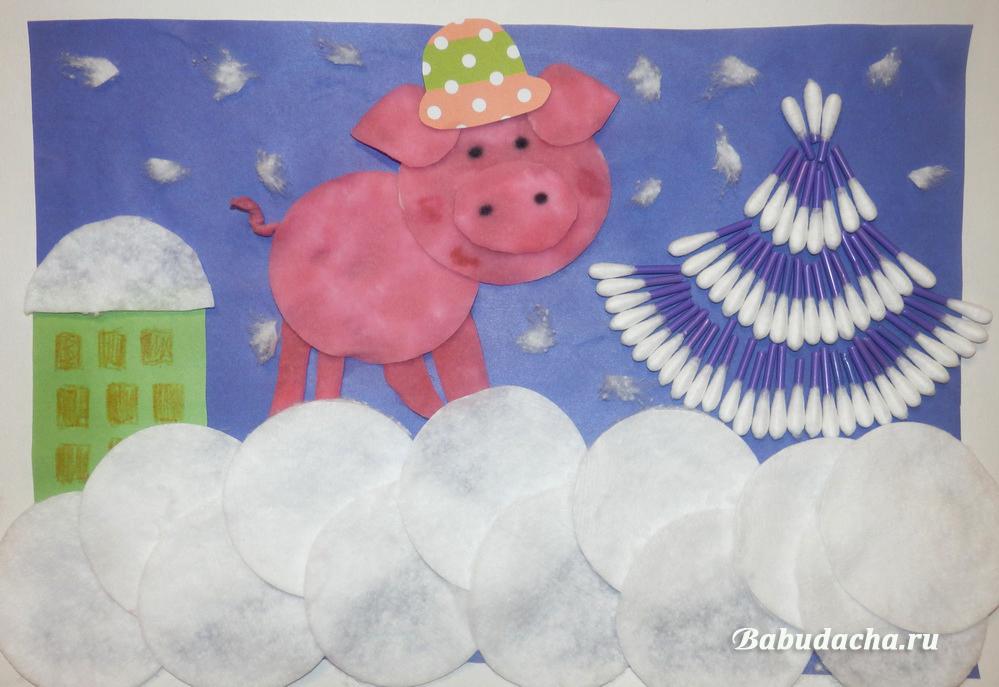 Простая и колоритная поделка к году Свиньи