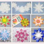 Мастерим пушистые снежинки из бумаги и бумажных салфеток для украшения дома к Новому году 2020. Схемы и пошаговые инструкции