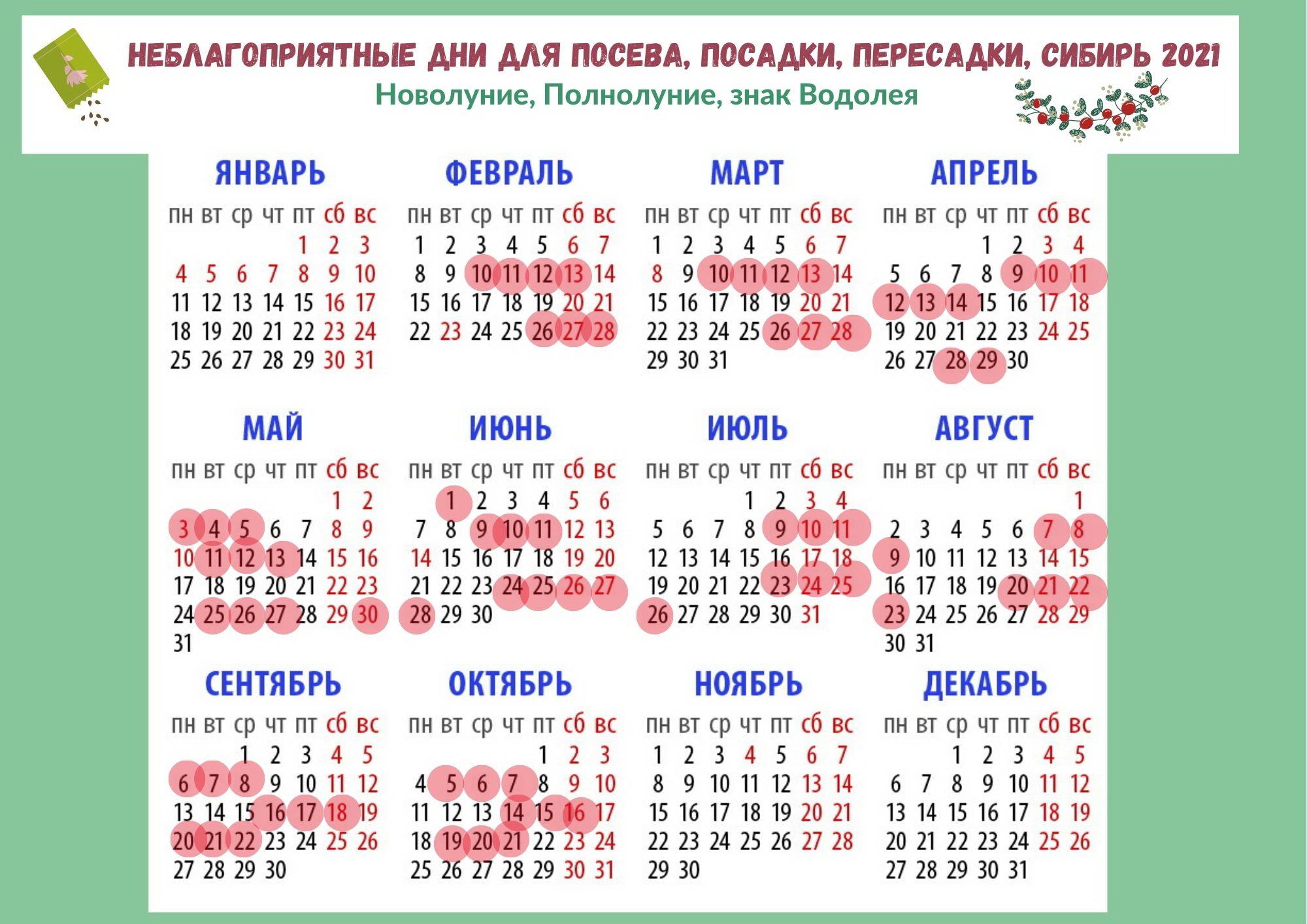 Календарь садовода Сибири на 2021 год
